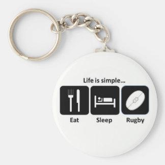 Das Leben ist einfaches Rugby Standard Runder Schlüsselanhänger