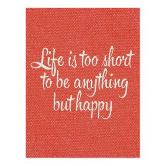 Das Leben ist ist glückliche rote Leinwand kurz Postkarte