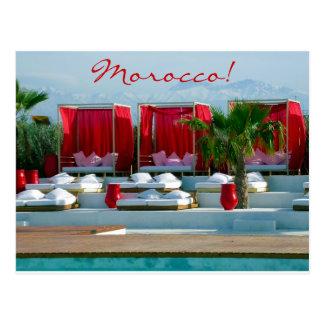 """Das Leben"" ist, Marokko-Luxus Poolside Postkarte"