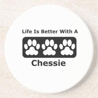 Das Leben ist mit einem Chessie besser Sandstein Untersetzer