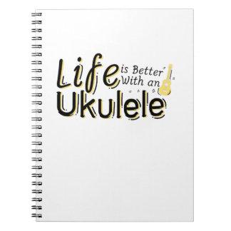Das Leben ist mit einem Ukulele Uke Musikfreund Spiral Notizblock