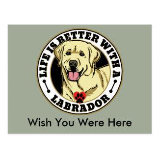 Das Leben ist mit einer Weiß-Labrador-Hundezucht Postkarte