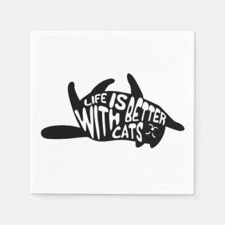 Das Leben ist mit Katzen | Spaß-Typografie besser Papierservietten