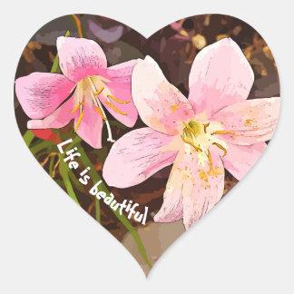 DAS LEBEN IST SCHÖNE rosa Lilienherzaufkleber Herz-Aufkleber
