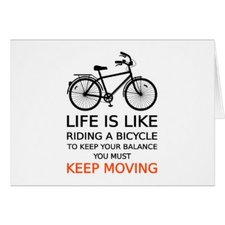 das Leben ist wie das Fahren Fahrrads, Wortkunst, Karte