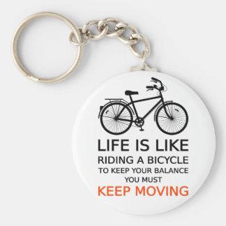 das Leben ist wie das Fahren Fahrrads, Wortkunst,  Schlüsselanhänger