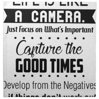 Das Leben ist wie eine Kamera Stoffserviette