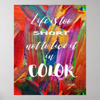 Das Leben ist zu kurzes buntes abstraktes modernes Poster