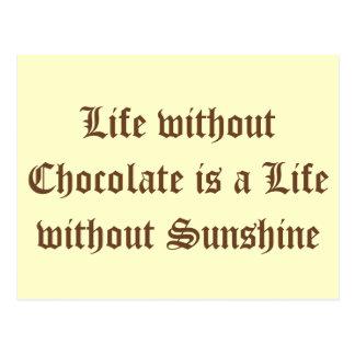 Das Leben ohne Schokolade ist ein Leben ohne Postkarte