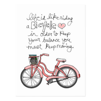 das Leben vol25 ist wie das Fahren Fahrrads Postkarte