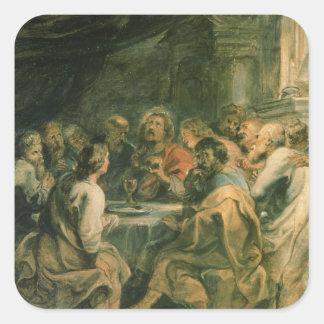 Das letzte Abendessen, c.1630-31 Quadrat-Aufkleber