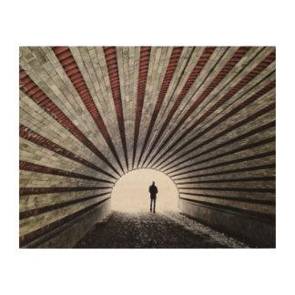 Das Licht am Ende des Tunnels Holzleinwand