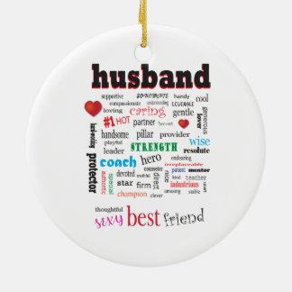 Das Lieben und kümmerte Ehemann-Wort-Wolke Rundes Keramik Ornament