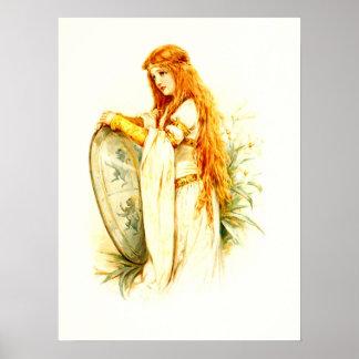 Das Lilien-Mädchen mit Lancelots Schild Plakatdruck
