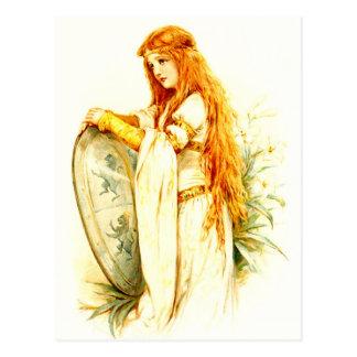 Das Lilien-Mädchen mit Lancelots Schild Postkarte