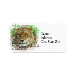 Das Löwin-Weihnachten Adressaufkleber