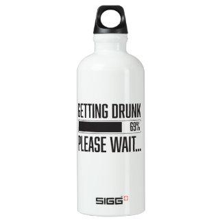 Das lustige Erhalten betrunken warten bitte Aluminiumwasserflasche