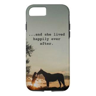 Das Mädchen, das Pferd lebte sie küsst, glücklich iPhone 8/7 Hülle