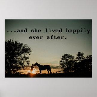Das Mädchen, das Pferd lebte sie küsst, glücklich Poster