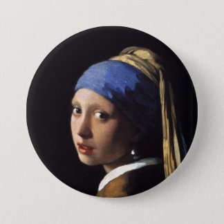 Das Mädchen mit einem Perlen-Ohrring durch Runder Button 7,6 Cm