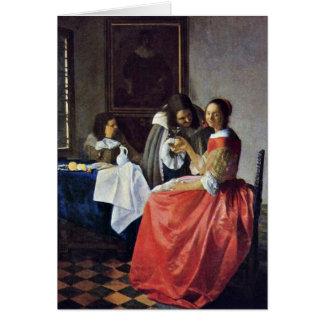Das Mädchen mit einem Weinglas. Durch Johannes Grußkarte