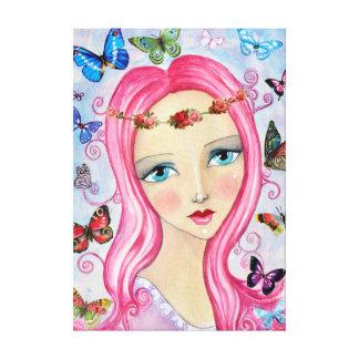 Das Mädchen und die Schmetterlings-Leinwand Leinwanddruck