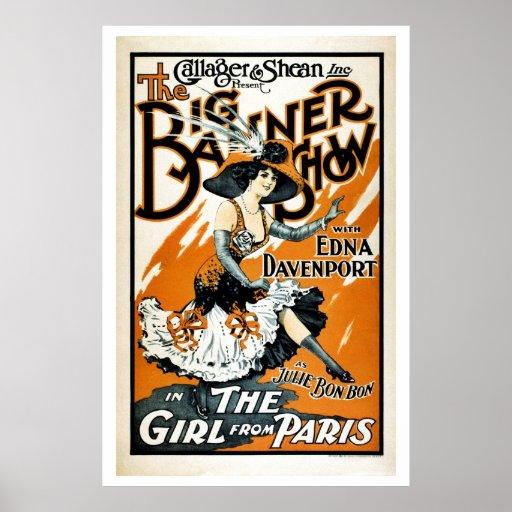 Das Mädchen von Paris, Vintages musikalisches Plak Plakatdruck