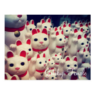 Das Maneki Neko Gotokuji Tempels glückliche Katzen Postkarte
