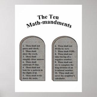 Das Mathe-Mandments zehn Poster