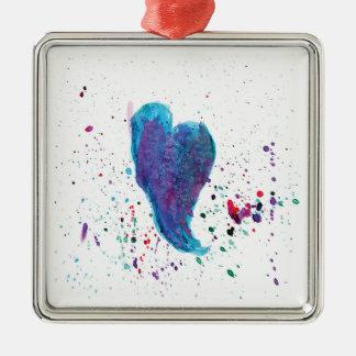 Das mehrfarbige Aquarell-Herz spritzt Silbernes Ornament