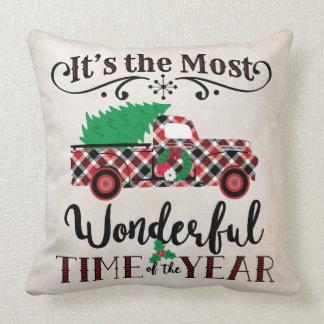 Das meiste wunderbares Zeit-Weihnachtskarierte Kissen