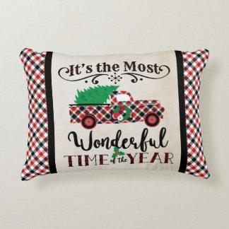 Das meiste wunderbares Zeit-Weihnachtskarierte Zierkissen