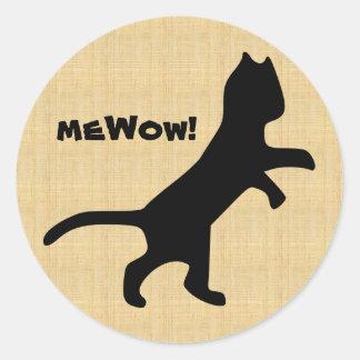 Das meWOW der Katze hölzerner kundengerechter Runder Aufkleber