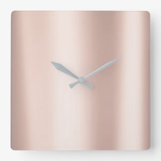Das minimale rosa metallische Rosen-Gold erröten Quadratische Wanduhr