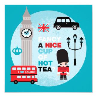 Das Mittagessen hohen Tees Londons laden ein Quadratische 13,3 Cm Einladungskarte