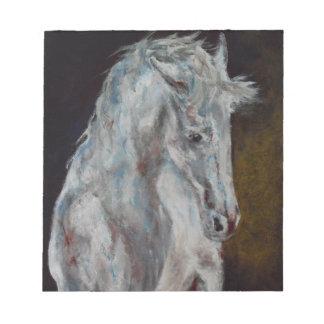 Das moderne weiße blaue Pferd Notizblock