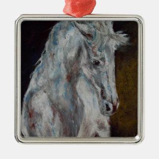 Das moderne weiße blaue Pferd Quadratisches Silberfarbenes Ornament