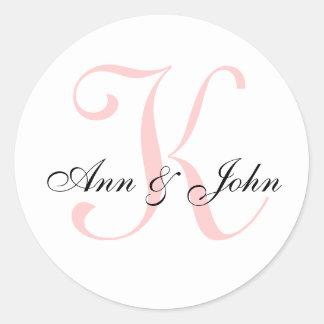 Das Monogramm, das Anfangsbraut-Bräutigam Wedding Runder Aufkleber
