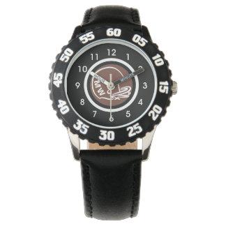 Das Monogramm-Football-Helm-Uhr-Schwarz-Zahlen des Armbanduhr