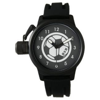 Das Monogramm-Fußball-Uhr-Schwarzes der Männer Uhr