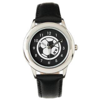 Das Monogramm-Fußball-Uhr-Schwarzes des Kindes Uhr