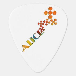 Das Namensspiel - Alice mit etwas Farbe Plektrum