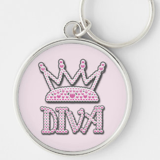 Das niedliche gedruckte Rosa perlt Diva-Prinzessin Silberfarbener Runder Schlüsselanhänger