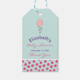 Das niedliche Häschen, das eine Ballon-Baby-Dusche Geschenkanhänger