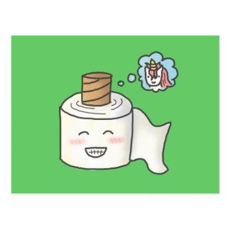 Das niedliche lustige Toilettenpapier, das es Postkarte