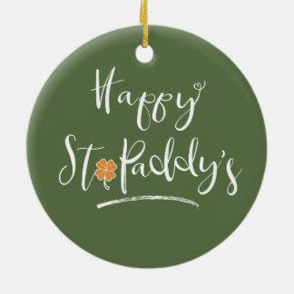 Das orange Kleeblatt ID336 glücklichen St.-Paddys Keramik Ornament