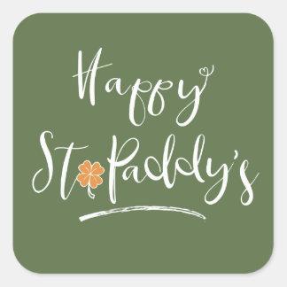 Das orange Kleeblatt ID336 glücklichen St.-Paddys Quadratischer Aufkleber