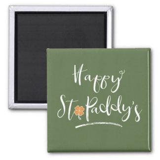 Das orange Kleeblatt ID336 glücklichen St.-Paddys Quadratischer Magnet