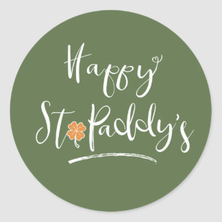 Das orange Kleeblatt ID336 glücklichen St.-Paddys Runder Aufkleber