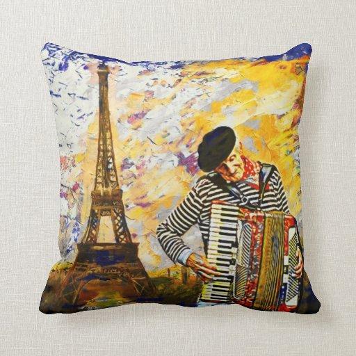 Das Pariser Akkordeonspieler-Kissen Kissen